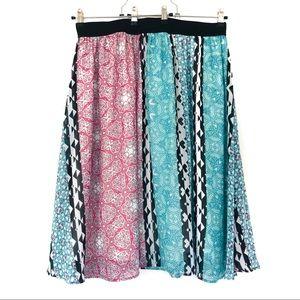 Lane Bryant (22/24) Turquoise Pink Geo Print Skirt